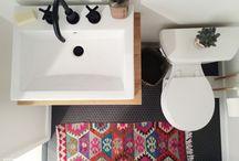 : B A T H R O O M : / Calming, cool bathroom decor / by Sarah G