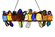 Stained Glass / Birds on a wire