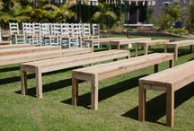 Benches / Colour : Natural   Our Oregon Pine benches are a relaxed, rustic alternative to chairs for a wedding ceremony. Gorgeous for a cocktail party or as casual seating option for dinner.  Long bench cushions optional.  Seats 4-6 comfortably.  Length: 2.4m. Depth 35cm.  Retail Price R2500,00 Rental Price: R300 each - 20 Available