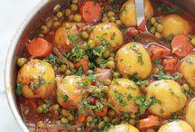 Petits pois carottes et pomme de terre sauce tomate