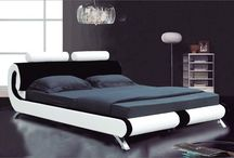 Modern Bed Leather Faux King Size 5FT Bedroom Mattress Furniture Black & White
