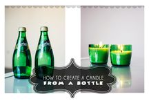 UPCYCLED CANDLES / Some tricks and tips for candle makers. Use beautiful glass bottles to create glass bondles and make container candles out of them.