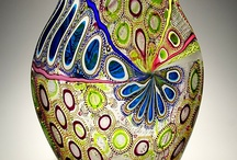 Glass vase and glass painting