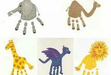Dieren knutselen / Dieren van geverfde handen