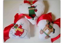 Christmas handmade decorations / Handmade Christmas decorations with cross stitch embroidery