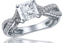 Princess Cut Diamond Engagement Rings. / We have your selection of princess cut diamonds, because every girl deserves to feel like a princess. Visit www.usjewelryfactory.com for our full range of princess cut diamond engagement rings
