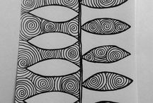 Black and white doodles