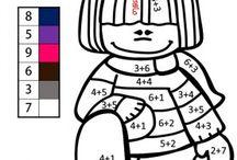 Matematika első osztály; összeadás-színező