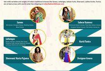 Indian Traditional Sarees, Salwar Kameez and Lehengas / Buy Indian traditional dresses like Saress, Lehengas, Salwar Suits, Sharwani, Ladies Kurtis, Tunics, etc at best prices with world wide free shipping at Indianfashionfollower.com