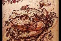 turtle, frog