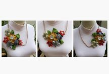 necklace cantik / batik denim necklace