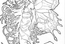 Mermaid, fairy & others outline
