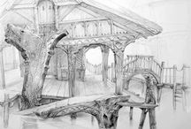 BUILDINGS / Illustrations, art, sketches & drawings, of buildings, homes, architecture, etc.