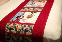 pie de cama patchwork navideños