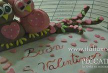 Torta San Valentino con gufi a forma di cuore camy cream alla nutella ganache al cioccolato al latte