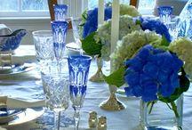 Tischdekorationen blau