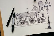 Architecture Sketches / Fresh from the sketchbook. Urban and design. Doodles. Conceptual. Process and rendered