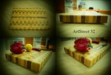 '260 Cubes' MasterPiece 52.03.16 / A handmade cutting board from 260 wooden cubes of Oak , Mahogany and Beech. More Info and photos at https://www.facebook.com/artstreet52/