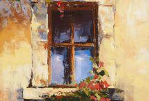 окна,рисование