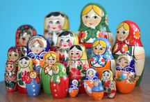 Nesting Dolls (Matryoshka) / I am not sure why, but I love Matryoshka.  I remember this Sesame Street segment where each doll comes forth from the next and they assemble then they reunit as one; perhaps that is the basis.  I just like them.  I have a red set on the shelf in my kitchen.  They make me smile when I look at them. / by Joanna 4D Farm