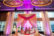 Drape Mandap / An actual traditional mandap structure can be hard to come by in some cities of the US. Using drape, with various understructures such as pipe and base, tent frames, or other column-type infrastructure, a mandap can be created and placed on rentable staging.