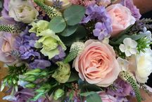 Vintage wedding flowers hand tied bridal bouquets Rustic & romantic of lilac and pink And Ivory with lace and pearls buttonholes table centre venue dressing / Vintage wedding flowers pink and lilac roses with pearl and lace detail Vintage wedding flowers pastel colours Lilac pink smaller bridesmaid bouquet meadow flowers