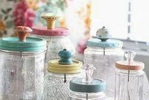 JARS WITH GLASS KNOBS