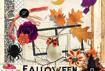 "Falloween Scrapbook Collection / A fun ""fallish"" themed Halloween digital scrapbook collection."