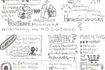 Sketchnotes / Menschen sind visuelle Wesen.   Mithilfe einer symbolstarken Zeichenmethode kann man Vorträge, Meetings und vieles mehr in Form von Skizzen jederzeit abrufbar machen und abspeichern.  Dieses Bildmaterial reichert das übliche Textmaterial an und kann sowohl im Beruf als auch im Privatleben genutzt werden. Gehörtes und Erlebtes bleibt länger im Kopf. Und Menschen reden öfter über das, was ihnen im Kopf herumspukt.