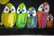 Pöllöt / Pölöt. Akvarellimaalaus/2015