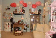 My Craftroom & Classroom / I have over 1,200 sq. feet of crafty studio space. Here are a few pictures of things you can find in the Scrap It Girl studio.  Vintage organizational items along with a few new pieces.  I love new & old items mixed, of course you gotta have some pink too~ / by Scrap It Girl, Design Team Calls, Scrap Challenge.com
