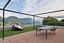 RAD-terasa / stín, soukromí, jednoduché moderní, černá, hrany, osvětlení