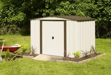 Arrow Newburgh Series Steel Storage Sheds / Available in 8' x 6' and 10' x 8' footprint sizes to fit a variety of storage needs. The low gable steel roof and sliding doors makes this backyard shed a best value for your storage needs