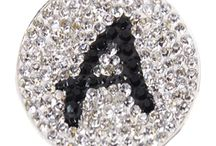 Micro Pave Crystal Initial Ball Markers