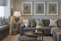 Living room decor; grey, white & blush