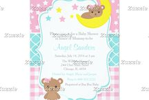 Cute Girl Bear Baby Shower in Pink and Green / This collection features a cute baby bear on a cloud and a bear on the moon. The background consists of pink stars, pink gingham and a turquoise blue quatrefoil ribbon.