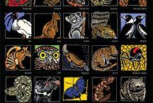 Australian Alphabets - Wildflowers & Wildlife - Linocuts / Australian wildflower & wildlife alphabets - Limited Edition Handpainted Linocuts by Lynette Weir - Australian Artist - Fine Art Linocuts