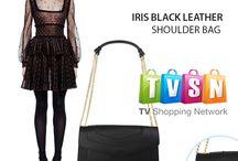 Iris Black Italian leather handbag  - Marlafiji
