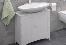 Modern Storage Cabinet White Wooden Furniture 2 Door Bathroom Unit Home Decor
