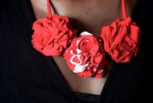 Red And A Little White Rosette Necklace