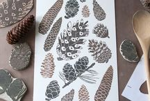 Linocutting and rubber stamps