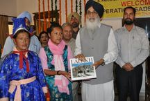 CM at Operation Sadbhawana organized by Army's Seventy Brigade / Punjab Chief Minister Mr. Parkash Singh Badal honouring the Ladhaki ladies team member of operation Sadbhawna an educational tour organized by Seventy Brigade of Indian Army at Punjab Bhawan Chandigarh