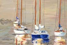 water colour boats