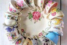 Tea cup & plate wreath