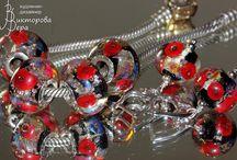 Jewelry sets. Handmade glass from Vera Viktorova / Jewelry sets - pendants, earrings, rings, bracelets, necklaces.  Glass beads handmade by Viktorova Vera;  Sterling Silver