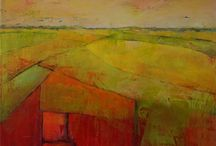 Marijke Prins schilderijen / Landschappen en vrouwfiguren geabstraheerd tot abstract weergegeven
