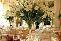 Simple wedding setting tables and flowers