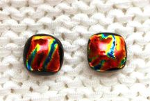 Fused glass earrings / fused glass earrings, dichroic glass, glass stud earrings, fused dichroic glass earrings, dangles. #fused #glass #fusedglass #glassjewellery #earrings #glassearrings #glassstuds #studearrings