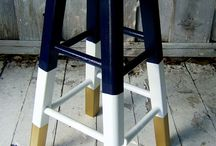 • Stool Sensational • / Stools, kitchen stools, bar stools, island stools, diy stools, two toned stools, new kitchen stools, stool ideas, stool with backs, hand painted stools