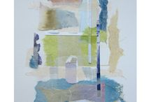 Sandra Constantine / Torn original watercolor, painted Japanese paper and tracing paper on Arches archival watercolor paper.